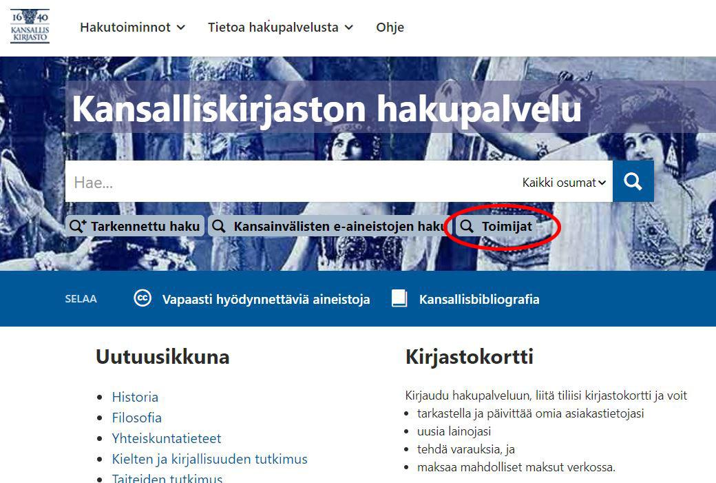 Kansalliskirjaston Finnan etusivu.